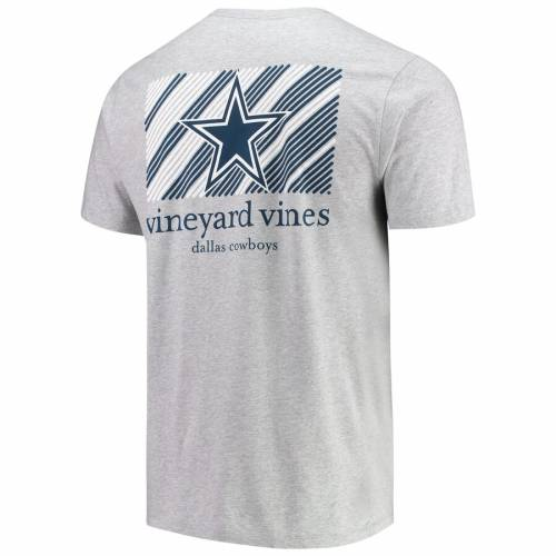 VINEYARD VINES ダラス カウボーイズ ストライプ Tシャツ 灰色 グレー グレイ メンズファッション トップス カットソー メンズ 【 Dallas Cowboys Diagonal Stripe T-shirt - Heathered Gray 】 Heathered Gray