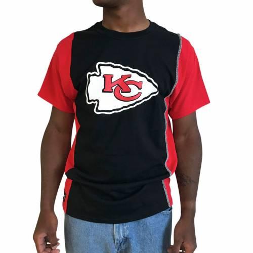 REFRIED APPAREL カンザス シティ チーフス Tシャツ 【 KANSAS CITY CHIEFS UPCYCLED SPLIT TSHIRT BLACK RED 】 メンズファッション トップス カットソー 送料無料
