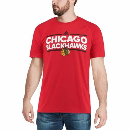 アディダス ADIDAS シカゴ パフォーマンス ラグラン Tシャツ 【 RAGLAN CHICAGO BLACKHAWKS DASSLER CLIMALITE PERFORMANCE TSHIRT RED 】 メンズファッション トップス カットソー 送料無料