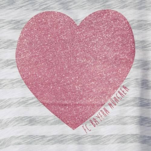 FC BAYERN M・・NCHEN AG 子供用 Tシャツ キッズ ベビー マタニティ トップス ジュニア 【 Bayern Munich Girls Youth Striped Heart T-shirt - Gray/white 】 Gray/white