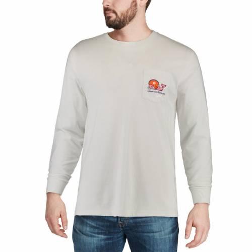 VINEYARD VINES タイガース スリーブ Tシャツ 白 ホワイト メンズファッション トップス カットソー メンズ 【 Clemson Tigers Long Sleeve Pocket T-shirt - White 】 White