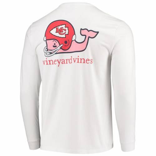 VINEYARD VINES カンザス シティ チーフス ヘルメット スリーブ Tシャツ 白 ホワイト メンズファッション トップス カットソー メンズ 【 Kansas City Chiefs Whale Helmet Long Sleeve T-shirt - White 】 White