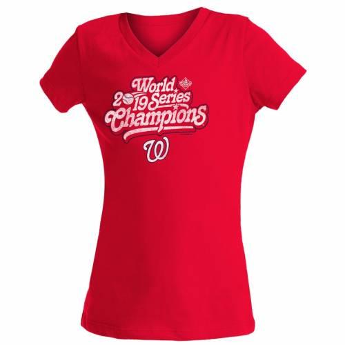 ニューエラ NEW ERA ワシントン ナショナルズ 子供用 シリーズ ブイネック Tシャツ 赤 レッド キッズ ベビー マタニティ トップス ジュニア 【 Washington Nationals Girls Youth 2019 World Series Champion