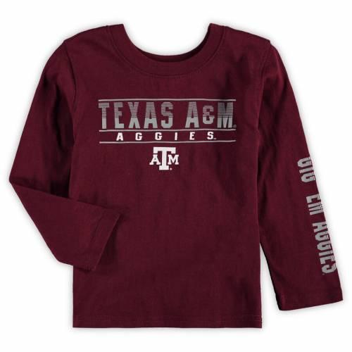 COLOSSEUM テキサス ベビー 赤ちゃん用 スリーブ Tシャツ キッズ マタニティ トップス ジュニア 【 Texas Aandm Aggies Toddler Flackless Two-hit Long Sleeve T-shirt - Maroon 】 Maroon