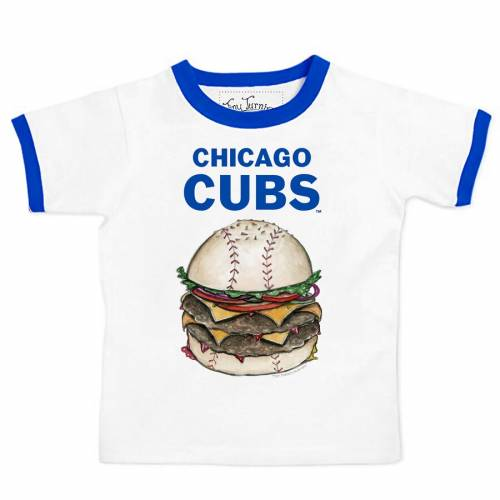 TINY TURNIP シカゴ カブス 子供用 Tシャツ キッズ ベビー マタニティ トップス ジュニア 【 Chicago Cubs Youth Ringer Burger T-shirt - White/royal 】 White/royal