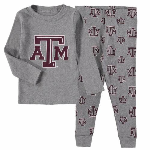 OUTERSTUFF テキサス 子供用 スリーブ Tシャツ パンツ 灰色 グレー グレイ キッズ ベビー マタニティ トップス ジュニア 【 Texas Aandm Aggies Youth Long Sleeve T-shirt And Pant Sleep Set - Heathered Gray 】 Hea