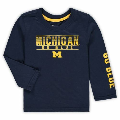 COLOSSEUM ミシガン ベビー 赤ちゃん用 スリーブ Tシャツ 紺 ネイビー キッズ マタニティ トップス ジュニア 【 Michigan Wolverines Toddler Flackless Two-hit Long Sleeve T-shirt - Navy 】 Navy