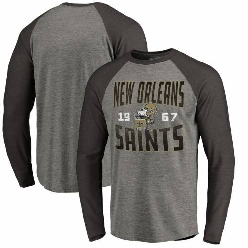 NFL PRO LINE BY FANATICS BRANDED セインツ プロ コレクション スリーブ ラグラン Tシャツ & 【 SLEEVE RAGLAN NEW ORLEANS SAINTS TIMELESS COLLECTION ANTIQUE STACK BIG TALL LONG TSHIRT ASH 】 メンズファッション トッ