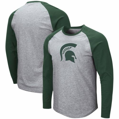 COLOSSEUM ミシガン スケートボード スリーブ Tシャツ 【 STATE SLEEVE MICHIGAN SPARTANS LONG TSHIRT HEATHERED GRAY GREEN 】 メンズファッション トップス カットソー 送料無料