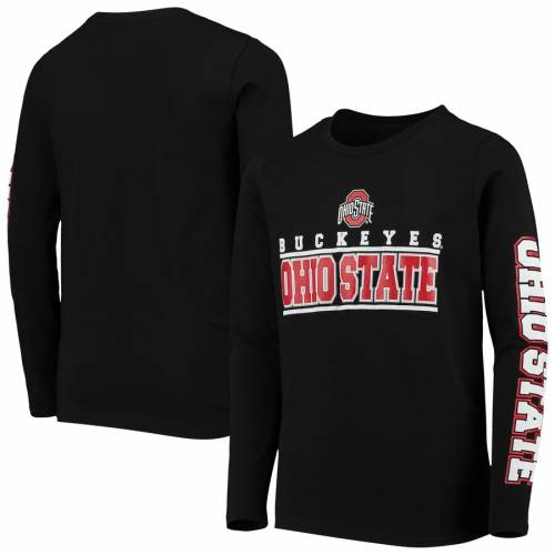 OUTERSTUFF オハイオ スケートボード 子供用 トランジション スリーブ Tシャツ キッズ ベビー マタニティ トップス ジュニア 【 Ohio State Buckeyes Youth Transition Two-hit Long Sleeve T-shirt - Scarlet 】 Bl