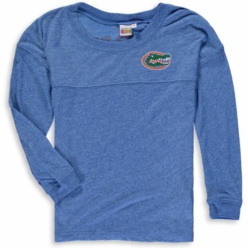 CHICKA-D フロリダ 子供用 ジャージ スリーブ Tシャツ キッズ ベビー マタニティ トップス ジュニア 【 Florida Gators Girls Youth Varsity Spirit Jersey Long Sleeve T-shirt - Heathered Royal 】 Heathered Royal