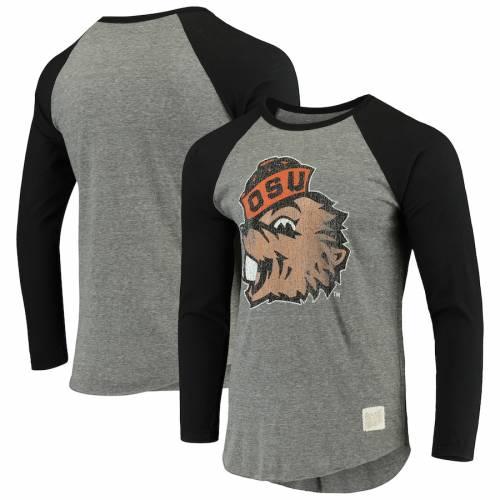 ORIGINAL RETRO BRAND オレゴン スケートボード ビンテージ ヴィンテージ スリーブ ラグラン Tシャツ メンズファッション トップス カットソー メンズ 【 Oregon State Beavers Vintage Long Sleeve Tri-blen