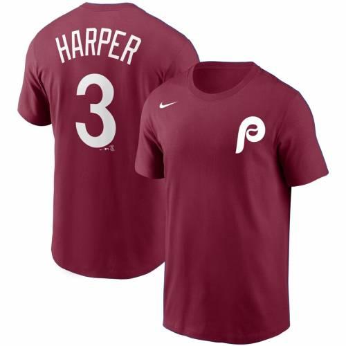 ナイキ NIKE フィラデルフィア フィリーズ Tシャツ 灰色 グレー グレイ メンズファッション トップス カットソー メンズ 【 Bryce Harper Philadelphia Phillies Name And Number T-shirt - Gray 】 Burgundy