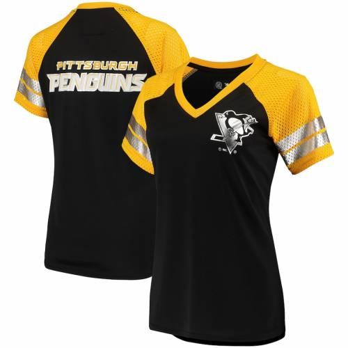 G-III 4HER BY CARL BANKS ピッツバーグ レディース フランチャイズ ラグラン ブイネック Tシャツ 黒 ブラック ? レディースファッション トップス カットソー 【 Pittsburgh Penguins Womens Franchise R