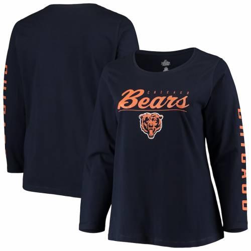 マジェスティック MAJESTIC シカゴ ベアーズ レディース チーム ロゴ スリーブ Tシャツ 紺 ネイビー ? レディースファッション トップス カットソー 【 Chicago Bears Womens Plus Size Team Logo Long