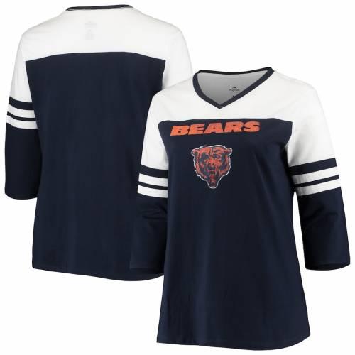 マジェスティック MAJESTIC シカゴ ベアーズ レディース ブイネック Tシャツ 紺 ネイビー ? レディースファッション トップス カットソー 【 Chicago Bears Womens Plus Size Ringer 3/4-sleeve V-neck T-sh