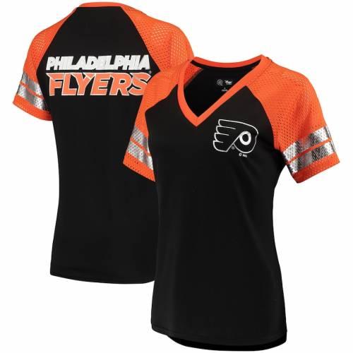 G-III 4HER BY CARL BANKS フィラデルフィア レディース フランチャイズ ラグラン ブイネック Tシャツ 黒 ブラック ? レディースファッション トップス カットソー 【 Philadelphia Flyers Womens Franc