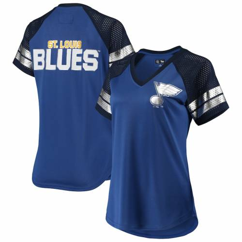 G-III 4HER BY CARL BANKS レディース フランチャイズ ラグラン ブイネック Tシャツ 青 ブルー St. ? レディースファッション トップス カットソー 【 St. Louis Blues Womens Franchise Raglan V-neck T-shirt