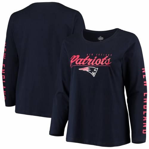 マジェスティック MAJESTIC ペイトリオッツ レディース チーム ロゴ スリーブ Tシャツ 紺 ネイビー ? レディースファッション トップス カットソー 【 New England Patriots Womens Plus Size Team Logo