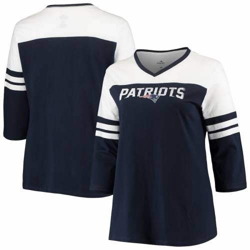 マジェスティック MAJESTIC ペイトリオッツ レディース ブイネック Tシャツ 紺 ネイビー ? レディースファッション トップス カットソー 【 New England Patriots Womens Plus Size Ringer 3/4-sleeve V-nec