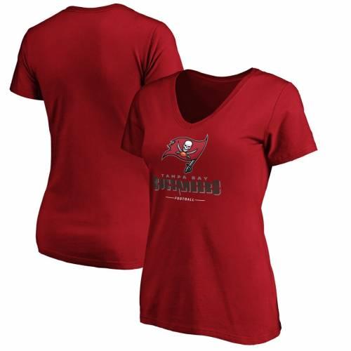 NFL PRO LINE BY FANATICS BRANDED バッカニアーズ レディース チーム ブイネック Tシャツ 赤 レッド レディースファッション トップス カットソー 【 Tampa Bay Buccaneers Womens Team Lockup V-neck T-shirt - Re