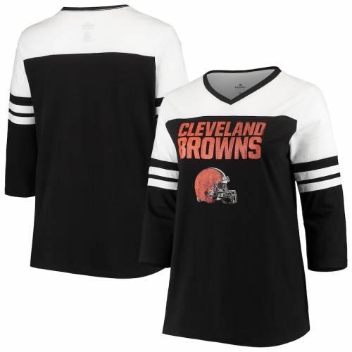 マジェスティック MAJESTIC クリーブランド ブラウンズ レディース ブイネック Tシャツ ? レディースファッション トップス カットソー 【 Cleveland Browns Womens Plus Size Ringer 3/4-sleeve V-neck T-s