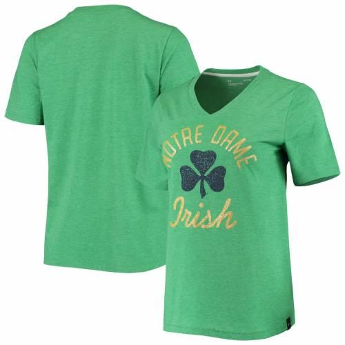 アンダーアーマー UNDER ARMOUR レディース ブイネック Tシャツ 緑 グリーン レディースファッション トップス カットソー 【 Notre Dame Fighting Irish Womens V-neck T-shirt - Heathered Green 】 Heathered Gre