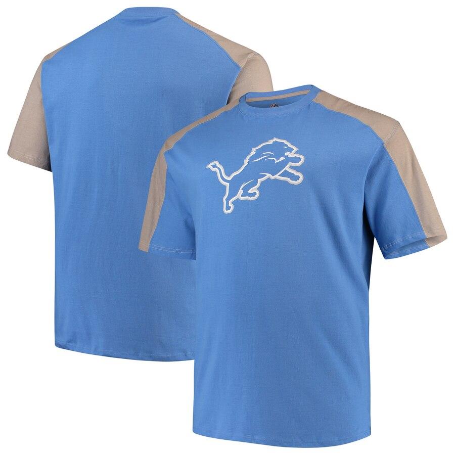 【NeaYearSALE1/1-1/5】マジェスティック MAJESTIC デトロイト ライオンズ ラグラン Tシャツ & 【 RAGLAN DETROIT LIONS CONTRAST BIG TALL TSHIRT BLUE SILVER 】 メンズファッション トップス カットソー 送料無料