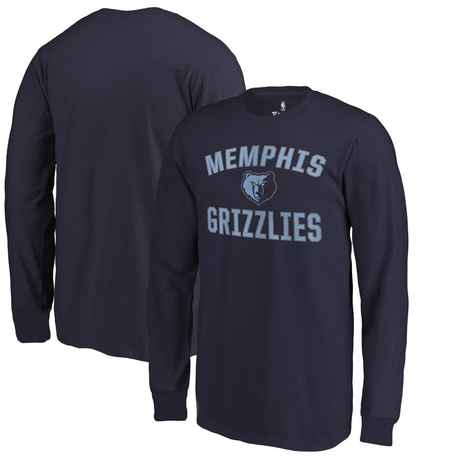 FANATICS BRANDED メンフィス グリズリーズ 子供用 ビクトリー スリーブ Tシャツ 紺 ネイビー キッズ ベビー マタニティ トップス ジュニア 【 Memphis Grizzlies Youth Victory Arch Long Sleeve T-shirt - Navy