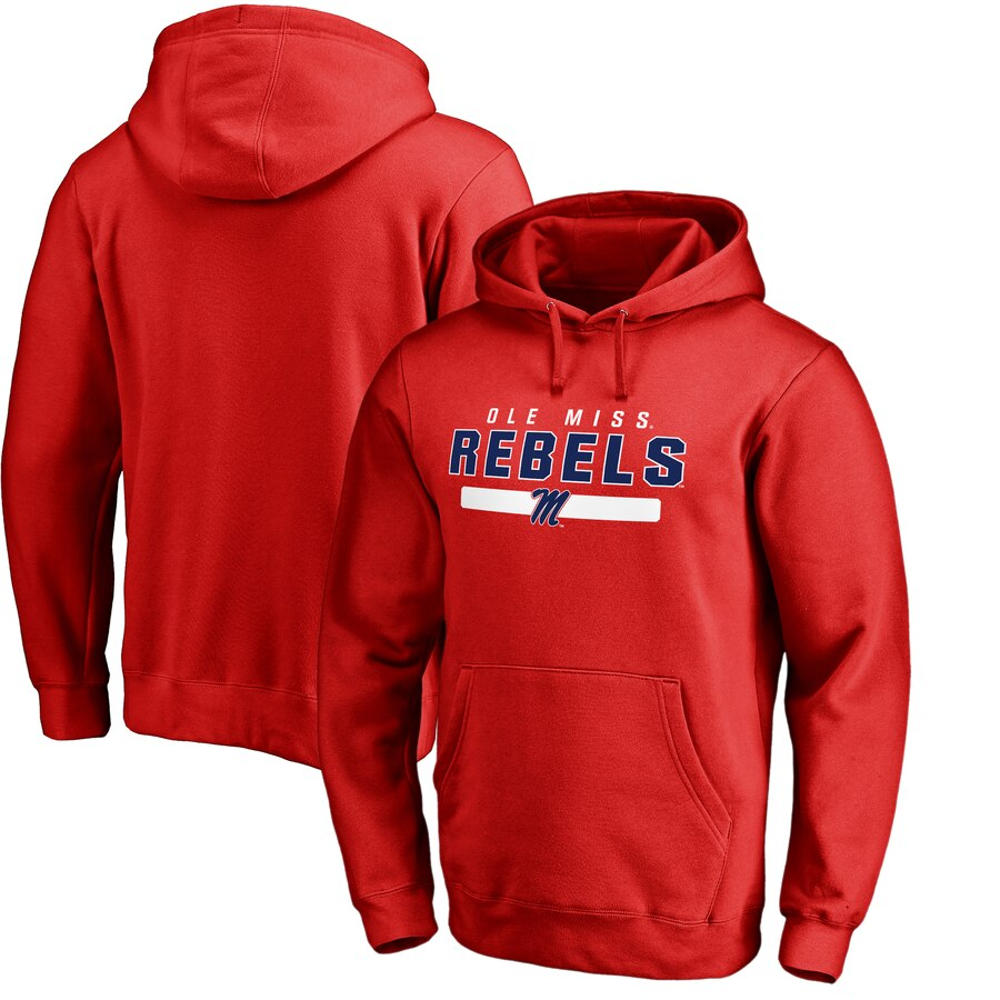 FANATICS BRANDED チーム 【 TEAM OLE MISS REBELS STRONG PULLOVER HOODIE SCARLET 】 メンズファッション トップス パーカー 送料無料