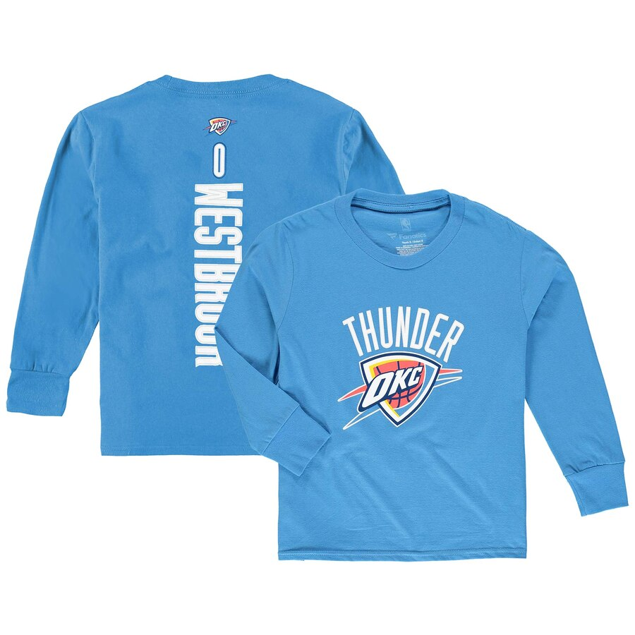 FANATICS BRANDED ラッセル ウェストブルック シティ サンダー 子供用 スリーブ Tシャツ & 【 SLEEVE RUSSELL WESTBROOK OKLAHOMA CITY THUNDER YOUTH STACKED NAME NUMBER LONG TSHIRT BLUE 】 キッズ ベビー マタニテ