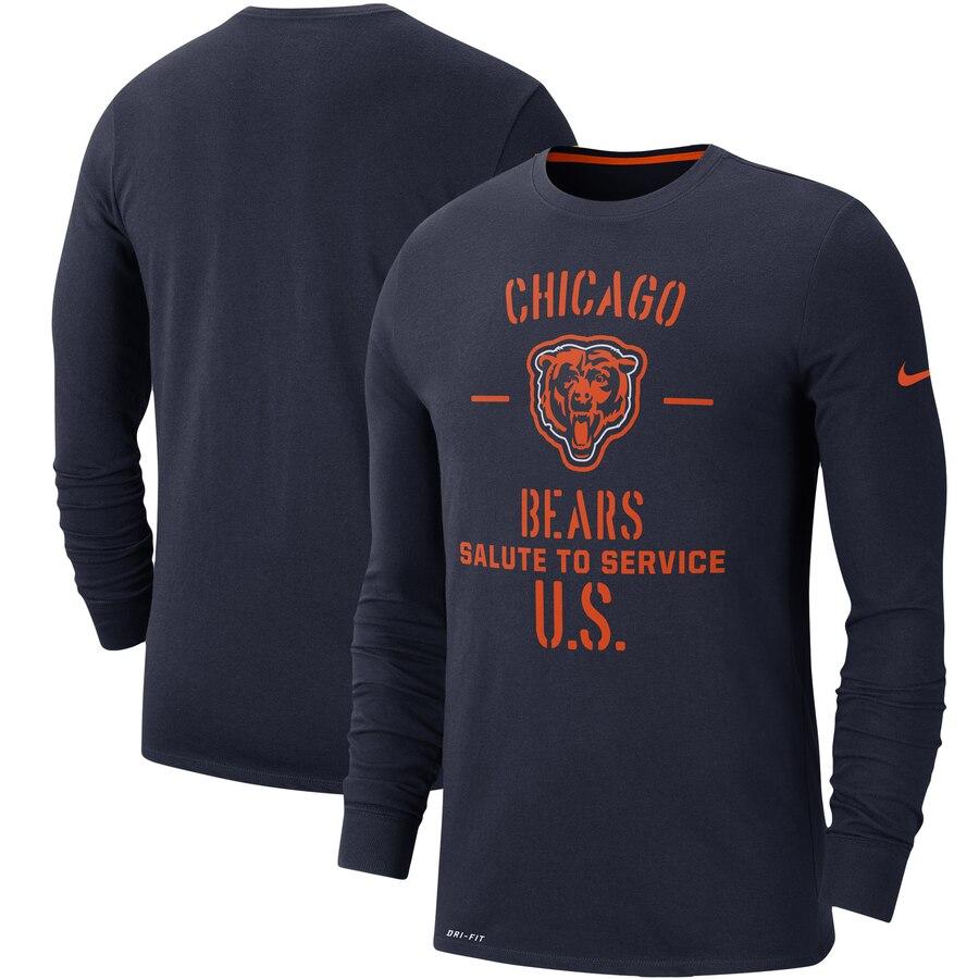 【NeaYearSALE1/1-1/5】ナイキ NIKE シカゴ ベアーズ サイドライン パフォーマンス スリーブ 【 BEARS SLEEVE CHICAGO 2019 SALUTE TO SERVICE SIDELINE PERFORMANCE LONG SHIRT NAVY 】 メンズファッション トップス Tシャツ カットソー