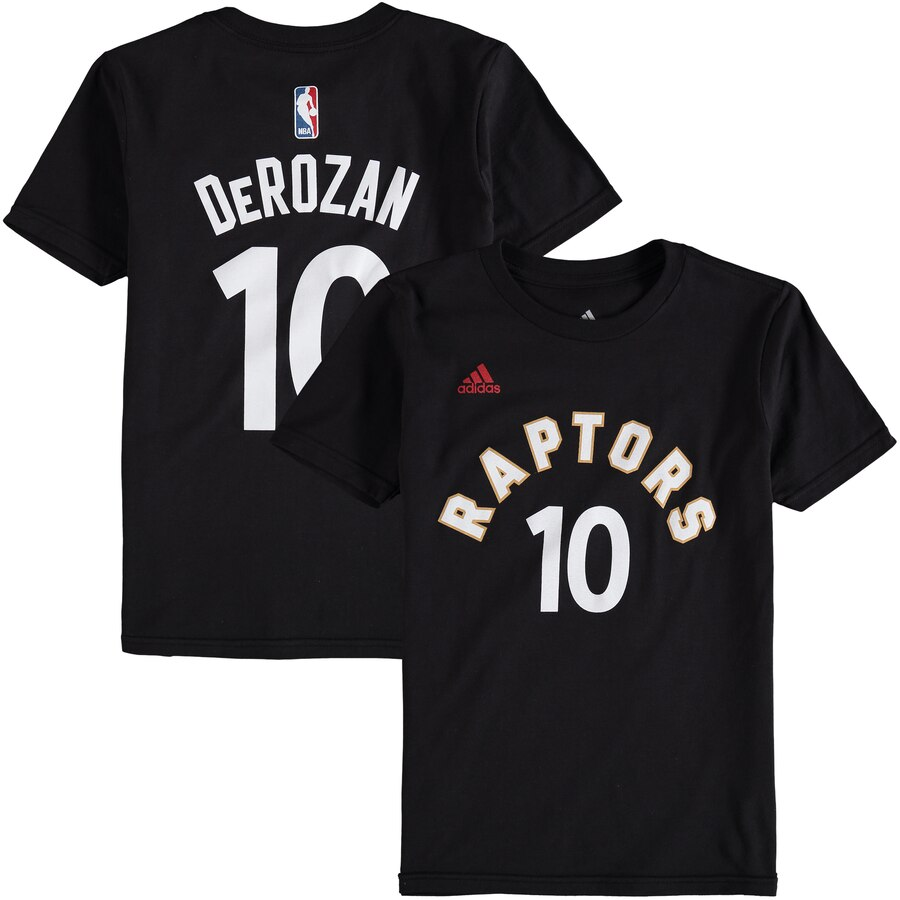 OUTERSTUFF トロント ラプターズ 子供用 ゲーム タイム Tシャツ & 【 GAME DEMAR DEROZAN TORONTO RAPTORS ADIDAS YOUTH TIME FLAT NAME NUMBER TSHIRT RED BLACK 】 キッズ ベビー マタニティ トップス 送料無料