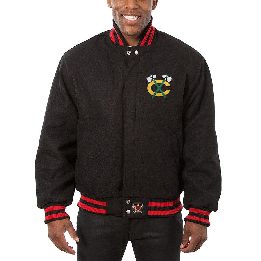 JH DESIGN シカゴ ホークス 黒 ブラック 【 BLACK JH DESIGN CHICAGO HAWKS ALL WOOL JACKET 】 メンズファッション コート ジャケット