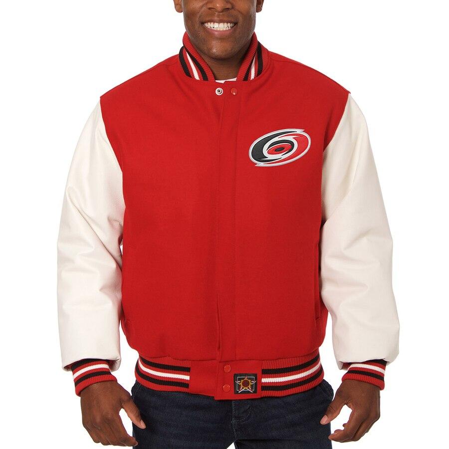 JH DESIGN カロライナ 赤 レッド 【 RED JH DESIGN CAROLINA HURRICANES TWOTONE JACKET 】 メンズファッション コート ジャケット