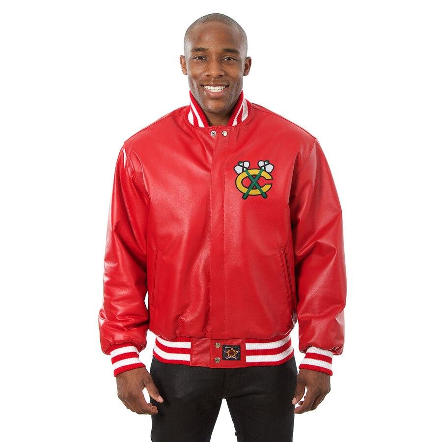 JH DESIGN シカゴ ホークス 黒 ブラック 赤 レッド 【 BLACK RED JH DESIGN CHICAGO HAWKS JACKET 】 メンズファッション コート ジャケット