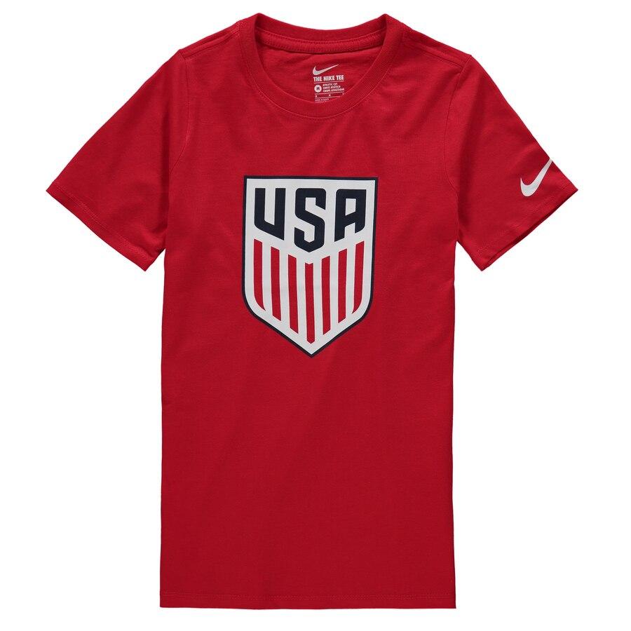 ナイキ NIKE チーム 子供用 Tシャツ 紺 ネイビー キッズ ベビー マタニティ トップス ジュニア 【 Us National Team Youth Crest T-shirt - Navy 】 Red