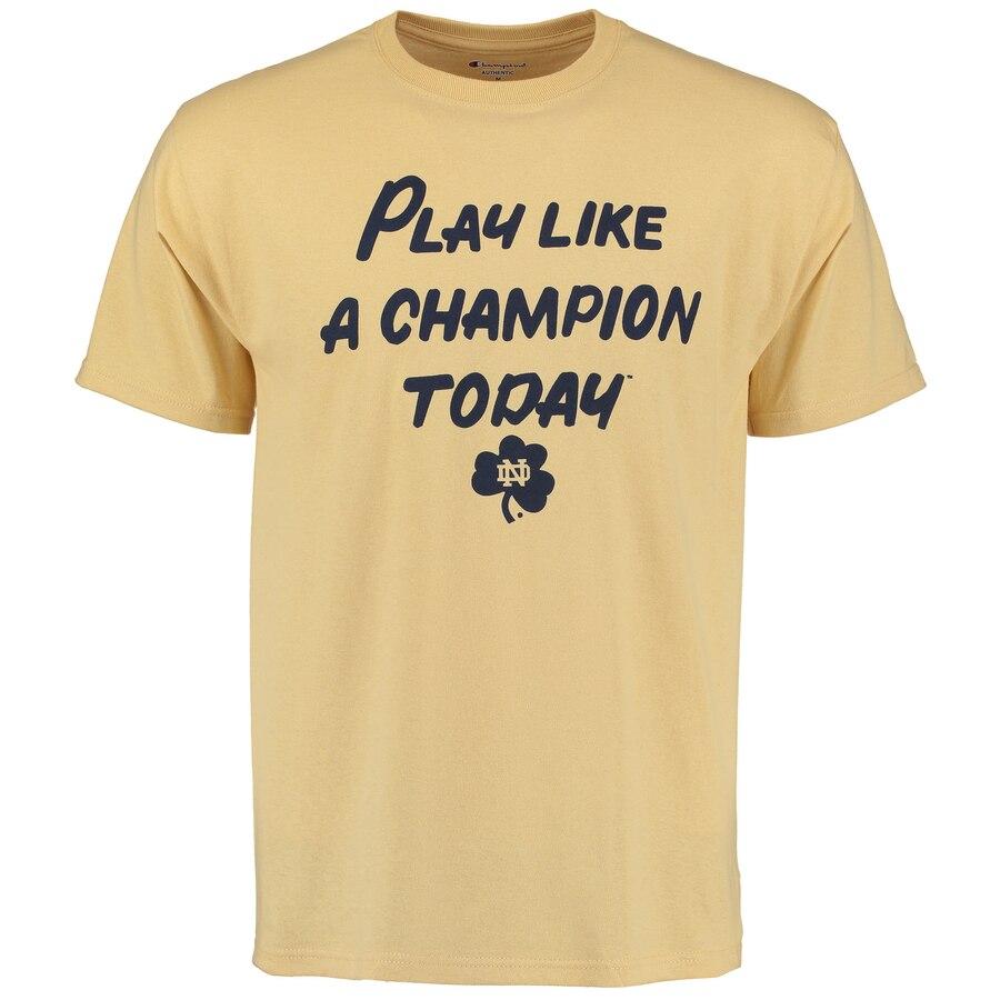 チャンピオン CHAMPION Tシャツ 【 NOTRE DAME FIGHTING IRISH PLACT BASIC TSHIRT KELLY GREEN VEGAS GOLD 】 メンズファッション トップス カットソー 送料無料