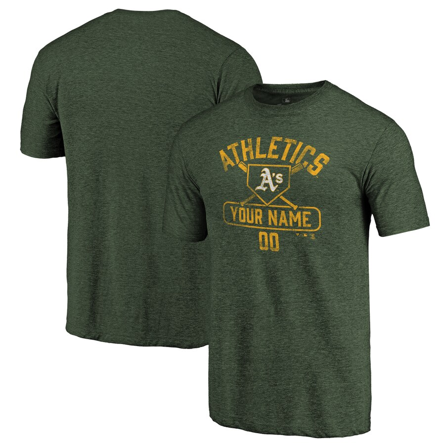 【NeaYearSALE1/1-1/5】FANATICS BRANDED オークランド Tシャツ 【 OAKLAND ATHLETICS PERSONALIZED BASE RUNNER TRIBLEND TSHIRT GREEN 】 メンズファッション トップス カットソー 送料無料