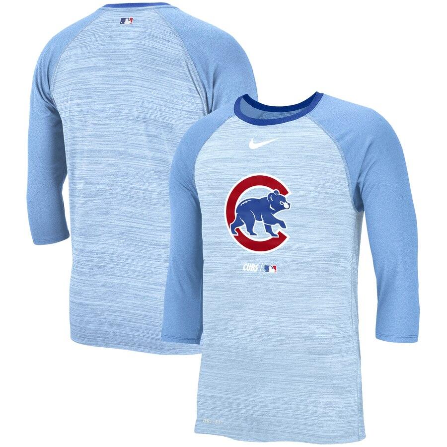 ナイキ NIKE シカゴ カブス パフォーマンス ラグラン Tシャツ 青 ブルー メンズファッション トップス カットソー メンズ 【 Chicago Cubs Velocity Performance 3/4-sleeve Raglan T-shirt - Light Blue 】 Light