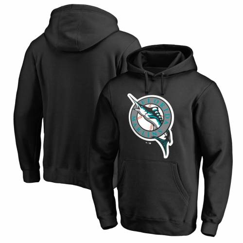 FANATICS BRANDED フロリダ マーリンズ クーパーズタウン コレクション ビンテージ ヴィンテージ 【 VINTAGE FLORIDA MARLINS COOPERSTOWN COLLECTION HUNTINGTON PULLOVER HOODIE BLACK 】 メンズファッション トップ