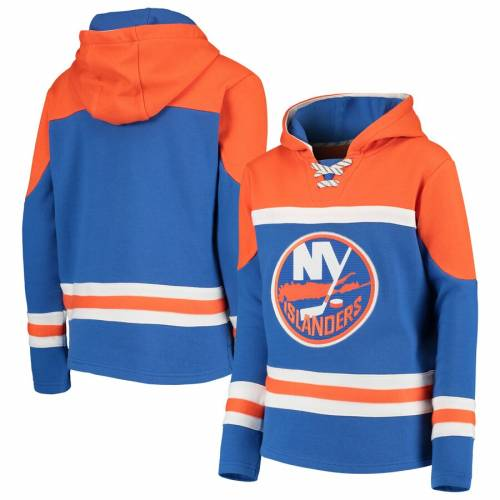 OUTERSTUFF 子供用 【 NEW YORK ISLANDERS YOUTH ASSET LACEUP PULLOVER HOODIE BLUE 】 キッズ ベビー マタニティ