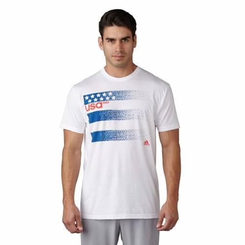アディダスゴルフ ADIDAS GOLF ゴルフ Tシャツ 白 ホワイト 【 GOLF WHITE ADIDAS USA 3STRIPE TSHIRT 】 メンズファッション トップス Tシャツ カットソー