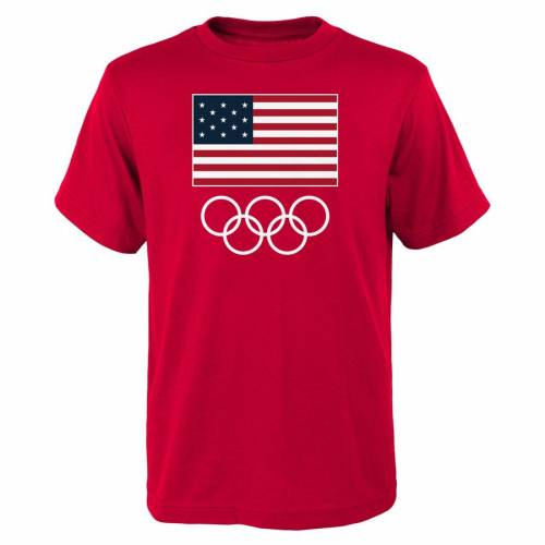 OUTERSTUFF チーム Tシャツ 赤 レッド & 【 TEAM RED OUTERSTUFF USA 2016 OLYMPICS FLAGS RINGS TSHIRT 】 メンズファッション トップス Tシャツ カットソー