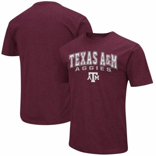 COLOSSEUM テキサス ロゴ Tシャツ A&M 【 TEXAS AGGIES DISTRESSED ARCH OVER LOGO TSHIRT HEATHERED MAROON 】 メンズファッション トップス カットソー 送料無料