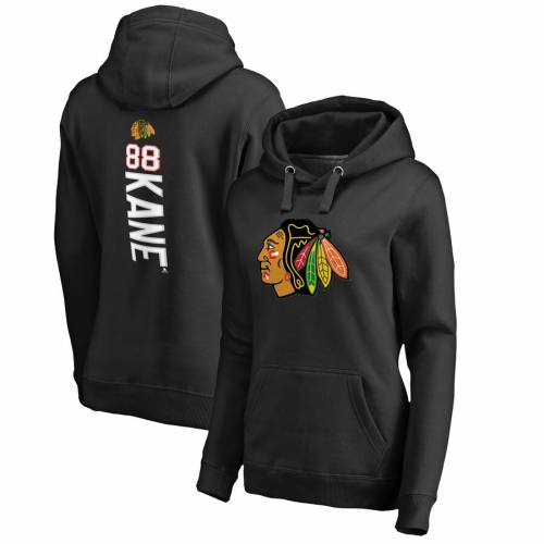 FANATICS BRANDED シカゴ レディース 黒 ブラック WOMEN'S 【 BLACK FANATICS BRANDED PATRICK KANE CHICAGO BLACKHAWKS BACKER PULLOVER HOODIE 】 レディースファッション トップス パーカー