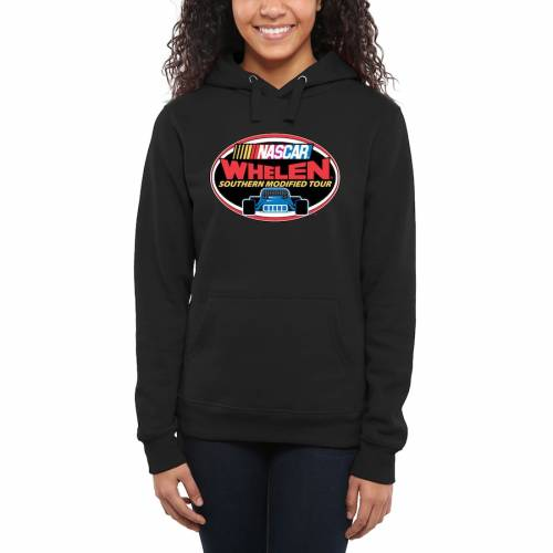 FANATICS BRANDED レディース ロゴ 黒 ブラック WOMEN'S 【 BLACK FANATICS BRANDED NASCAR MERCHANDISE WHELEN SOUTHERN MODIFIED TOUR LOGO PULLOVER HOODIE 】 レディースファッション トップス パーカー