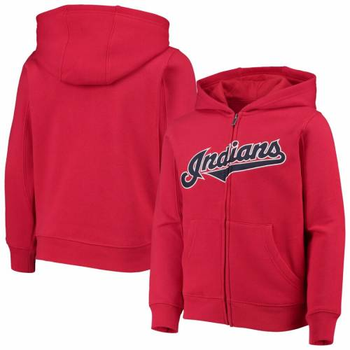 OUTERSTUFF クリーブランド インディアンズ 子供用 チーム 紺 ネイビー キッズ ベビー マタニティ トップス ジュニア 【 Cleveland Indians Youth Team Color Wordmark Full-zip Hoodie - Navy 】 Red