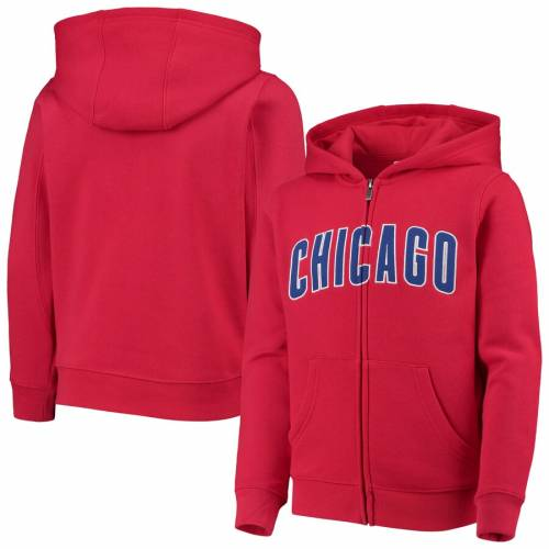 OUTERSTUFF シカゴ カブス 子供用 チーム キッズ ベビー マタニティ トップス ジュニア 【 Chicago Cubs Youth Team Color Wordmark Full-zip Hoodie - Royal 】 Red