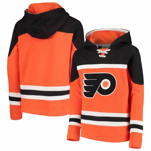 OUTERSTUFF フィラデルフィア 子供用 橙 オレンジ 【 ORANGE OUTERSTUFF PHILADELPHIA FLYERS YOUTH ASSET LACEUP PULLOVER HOODIE 】 キッズ ベビー マタニティ